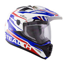 STEALTH HD009 XC1 DUAL SPORT ADVENTURE MOTORCYCLE TOURING HELMET RED WHITE BLUE