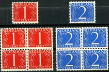 Netherlands 1946 Numerals Blocks & Singles Sc 283 284 or SG 636 & 637 MNH