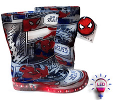 OFFICIAL SPIDER-MAN Wellies Rain Boots LED lights in the sole From 23-30/7-12