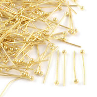 200pcs Gold Tone Brass Ball Head Pins Smooth 24 Gauge Drilled Findings 1.2 Inch