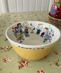 Cath Kidston RARE Snoopy Peanuts Cereal Bowl Kingswood Rose Mustard Yellow NEW