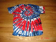 TYE DYE T-SHIRT, RED, WHITE & BLUE SWIRL DESIGN, SIZE L
