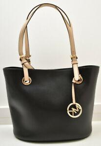 Michael Kors Jet Set Medium Leather Tote Shoulder Handbag Black New!