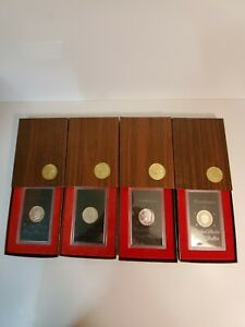 1971-1974 Eisenhower Proof Silver Dollars - Set of 4 - Brown Boxes