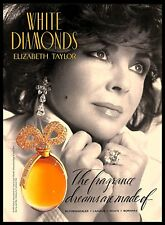 1993 White Diamonds Elizabeth Taylor Perfume Fragrance Vintage PRINT AD 1990s