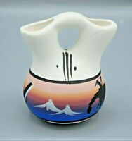 Handcrafted Artistic Clay Pottery Hand Painted Wedding Vase Signed Miniature