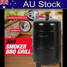 NEW Euro-Grille 3in1 Charcoal Smoker BBQ Grill Roaster Portable Steel Steamer XT