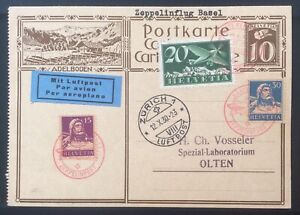 1930 SWITZERLAND ZEPPELIN POST FLIGHT BASEL TO ZURICH