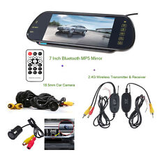 """7"""" HD Car Monitor Rearview Bluetooth MP5 Mirror + Wireless Parking Backup Camera"""