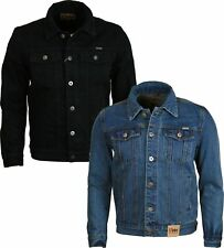 MENS DENIM JEAN JACKET DUKE CLASSIC WESTERN STYLE TRUCKER JACKET BLUE BLACK
