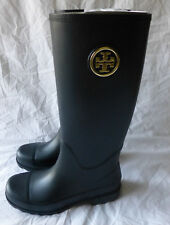 Tory Burch Sarah Logo Rainboot Black Rubber Boots Size 10 New In Box