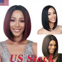 US Short Bobo Center-Parted Women Straight Bob Ombre Wine Red Cosplay Party Wig