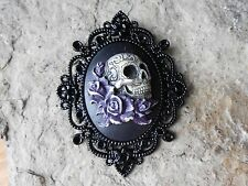 SKULL AND ROSES HAND PAINTED PURPLE CAMEO PENDANT - BLACK SETTING - GOTH, GOTHIC