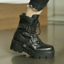Women's Fashion Leather Punk Lace Up Buckle Straps Biker Ankle Boots Shoes BYW20