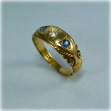 Victorian Sapphire & Diamond 18ct Gold Ring with Chester 1894 hallmark