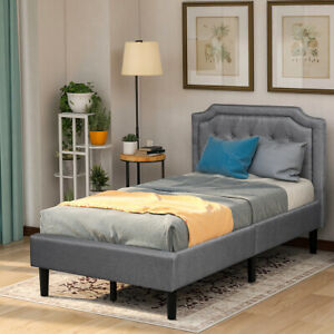 Twin/Queen Bed Platform Upholstered Bed Frame  with Headboard and Wood Slats