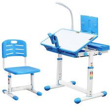 Height Adjustable Kids Study Desk Chair Set Children Table Lamp Drawer Boy Blue