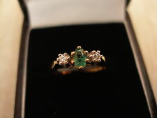 9 CARAT GOLD EMERALD AND DIAMOND 3 STONE RING BRAND NEW IN BOX MADE IN ENGLAND