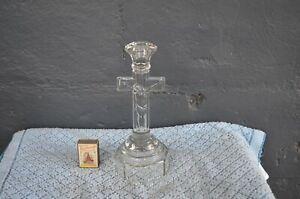 Vintage - Depression Glass Crucifix Candlestick / Candle Holder