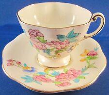 Foley Bone China Teacup & Saucer - V2807 - Pink Flowers & Blue Leaves