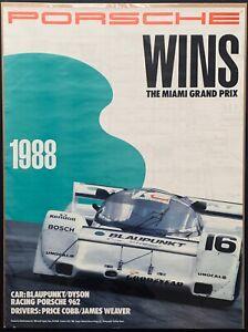 ORIGINAL 1988 MIAMI GRAN PRIX 3 HOURS IMSA PORSCHE VICTORY POSTER BLAUPUNKT 962