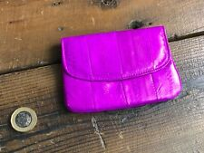 Genuine Eel Skin Leather Purse Hot Pink Credit Card Coin Note Zip Fasten Light