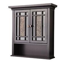 Dark Espresso 2 Door Wall Cabinet Modern Bath Room Storage Shelf Organizer Glass