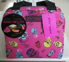 BETSEY JOHNSON Skull w/ Glasses Print Insulated Lunch Tote Lunch Bag NWT $38