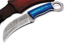CUSTOM HAND FORGED DAMASCUS STEEL  Hunting KARAMBIT Knife COLOR WOOD  HANDLE