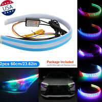 2X 60CM RGB Slim Sequential Flexible LED DRL Turn Signal Strip Remote Headlight
