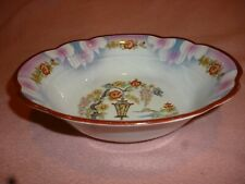 Vintage Hand-Painted Bowl, Germany, 9-in. x 2.5-in. deep, Cherry Blossoms EC