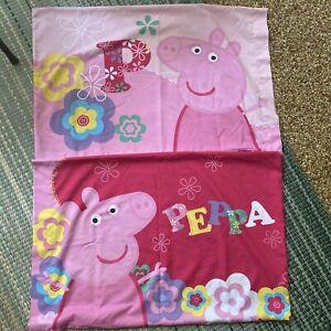 Peppa Pig Standard Size Pillow Case/Sham Pink Floral Flowers Set Of 2