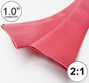 """1.0"""" ID Red Heat Shrink Tube 2:1 ratio 1"""" wrap (3x8"""" = 2 ft) inch/feet/to 25mm"""