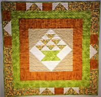 "Basket Quilt Green with Orange Flowers Wall Hanging Custom Quilted 36"" x 36"""