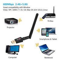 600Mbps Wifi Dongle USB Adaptateur sans Fil LAN Réseau 2.4GHz 5.8GHz Antenne