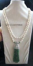 "freshwater pearl white ROUND skirt jade necklace 55"" nature wholesale gift fashi"