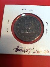 Rare 1945 Yugoslavia 5 Dinara  Zinc Coin KM #28 (YUGO101)