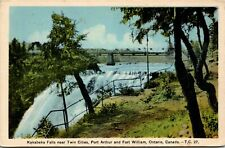 Postcard ON Thunder Bay Kakabeka Falls near Twin Cities 1930s K5