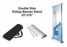 """Double (2-side) Retractable Roll Up Banner Stand (Display), 33"""" x 79'' Free Ship"""