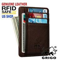 Real Leather Slim Wallet For Men with Money Clip Carbon Fiber RFID Blocking Case