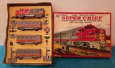 Vintage 1950s JAPAN TIN FRICTION TOY Santa Fe SUPER CHIEF Train w Railroad signs