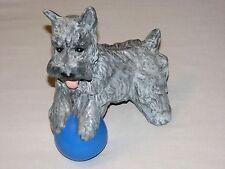 Schnauzer Terrier Handmade Ceramic pottery Dog Figure Ball Grey Black White Gray
