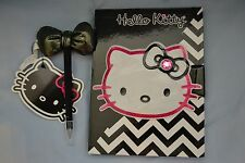 Hello Kitty Chevron Journal & Pen with Puffy Bow set - NWT