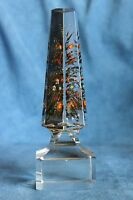 Antique 19th Century Victorian Gothic Grand Tour Glass Painted Flowers OBELISK