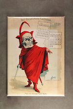 Skeleton in Red Fridge Magnet Art from 1898 Antikamnia Calender Louis Crusius
