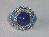 Ladies Handmade Hallmarked 925 Solid Sterling Silver Enamel & Lapis Lazuli Ring