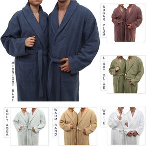 NEW Herringbone Weave 100% Turkish Cotton Unisex Bathrobe (6 colors) Bath Robe