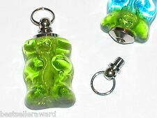 1 Miniature little Glass Gummy Bear BOTTLE charm necklace pendant bracelet Green