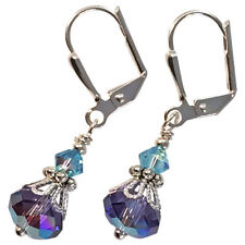 Ultra Violet Aqua Blue Crystal Dangle Drop Earrings with Crystal from Swarovski