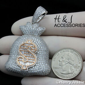 925 STERLING SILVER ICY DIAMOND 3D ROSE GOLD/SILVER $ SIGN MONEY BAG PENDANT*321